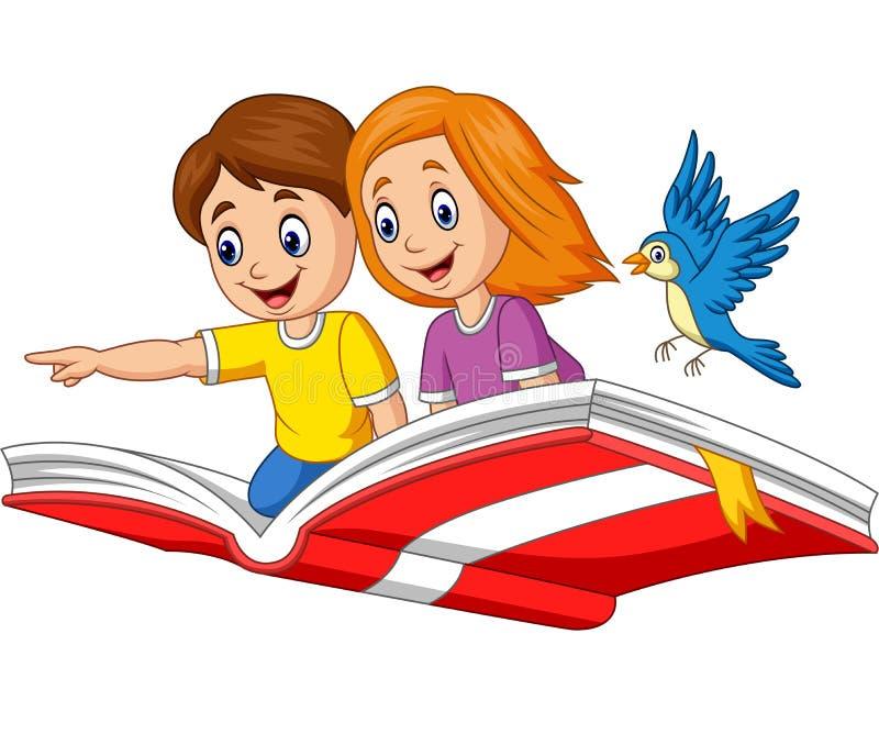 Volo della ragazza e del ragazzo su un libro royalty illustrazione gratis