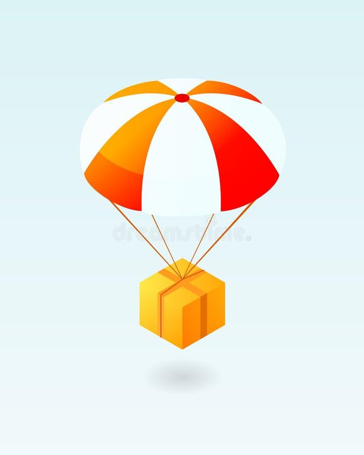Volo della scatola sull'icona del paracadute royalty illustrazione gratis