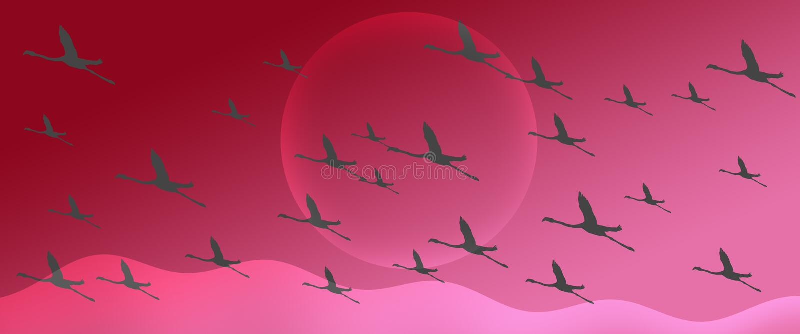 Volo della siluetta dello stormo del gruppo del fenicottero sul fondo rosa magenta dell'intestazione di pendenza royalty illustrazione gratis