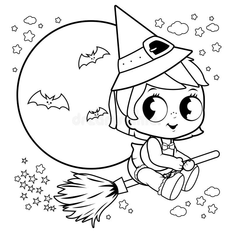 Volo della strega di Halloween del bambino con la scopa nel cielo notturno Pagina in bianco e nero del libro da colorare illustrazione vettoriale