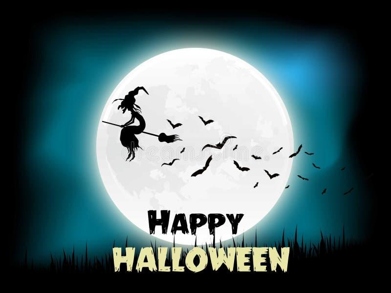 Volo della strega della luna di Halloween nel cielo e nei pipistrelli Illustrazione di vettore ENV 10 illustrazione vettoriale