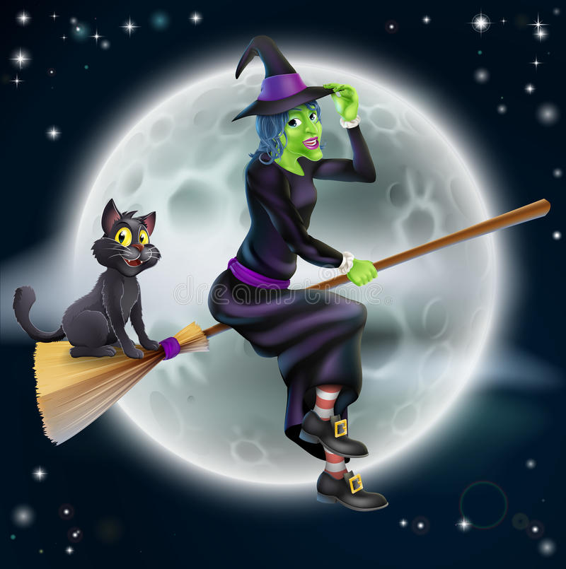 Volo della strega sulla scopa e sul cielo notturno royalty illustrazione gratis