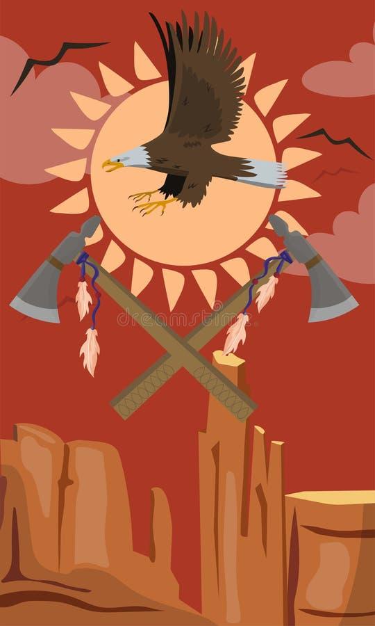 Volo di Eagle calvo, illustrazione di vettore dell'emblema del tomahawk illustrazione di stock