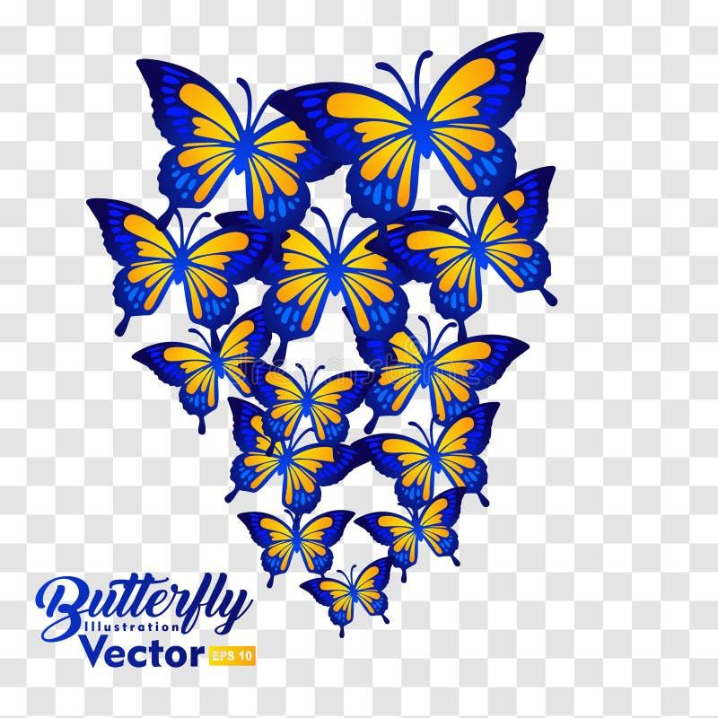 Volo di molte farfalle, isolato su fondo trasparente illustrazione vettoriale
