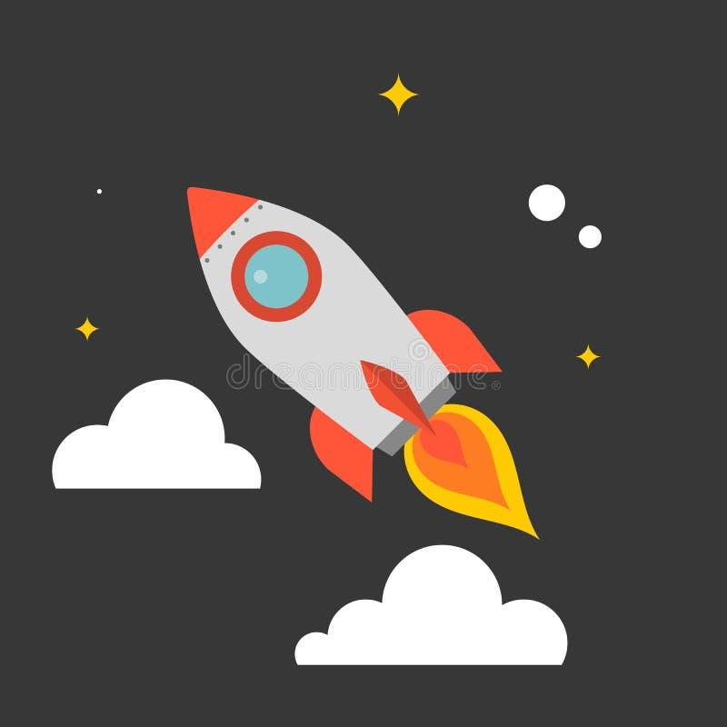 Volo di Rocket nel cielo con il fondo della nuvola e della stella illustrazione vettoriale