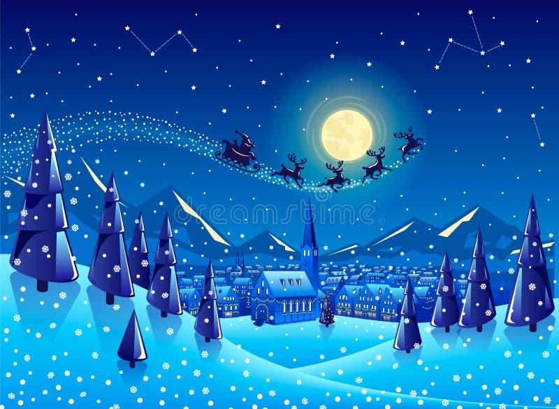 Volo di Santa attraverso il paesaggio nevoso sulla notte di Natale immagine stock libera da diritti