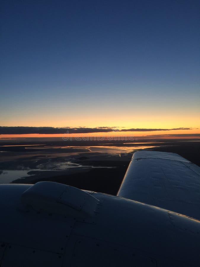 Volo di tramonto fotografia stock