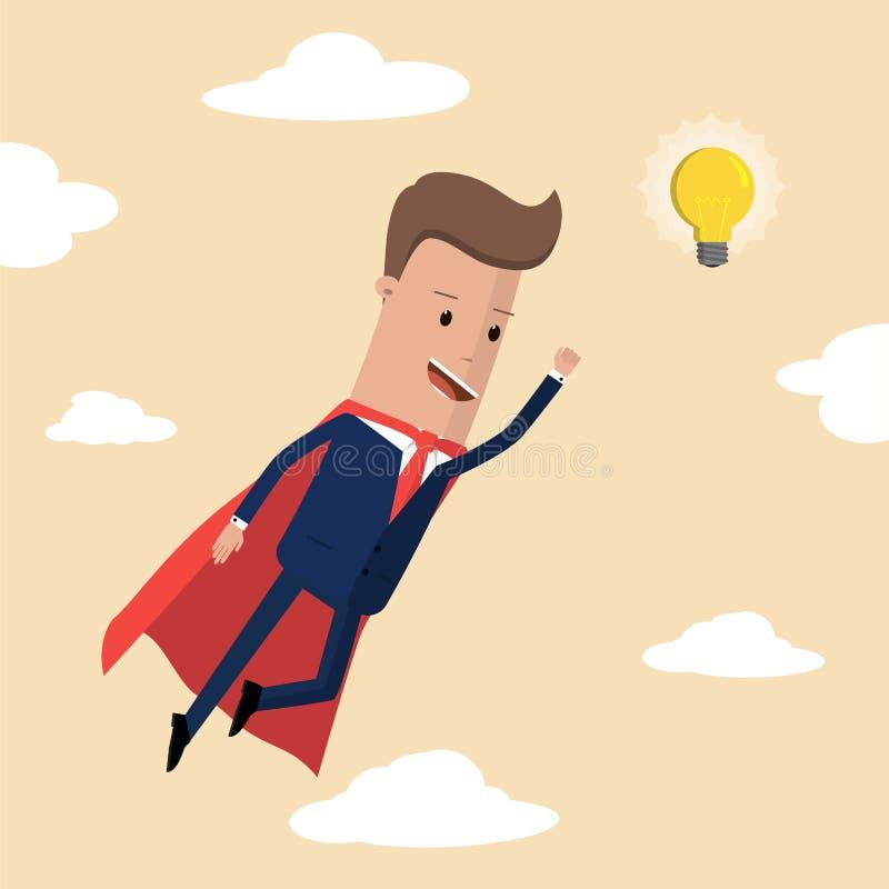 Volo eccellente dell'uomo d'affari alla lampadina di idea Illustrazione di vettore illustrazione di stock