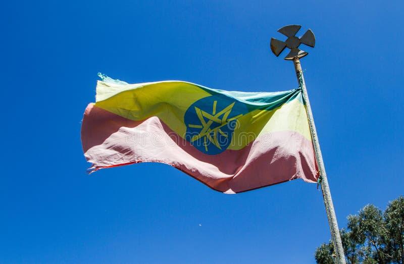 Volo etiopico della bandiera fotografia stock