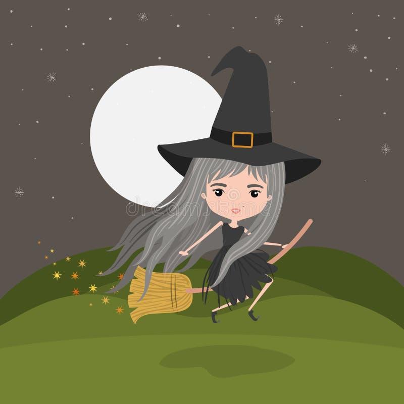 Volo fantastico del carattere della strega sveglia con la scopa nel fondo del paesaggio di notte della montagna illustrazione di stock