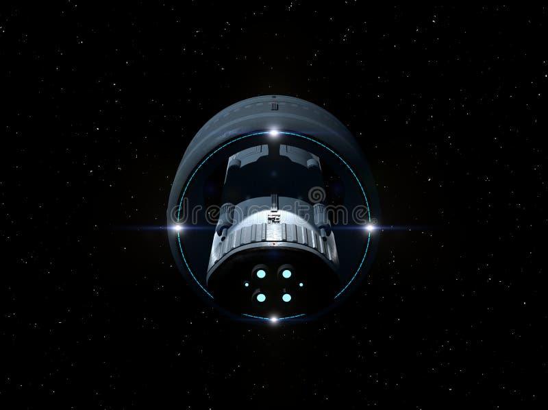 Volo interstellare 3D-Rendering dell'astronave illustrazione di stock