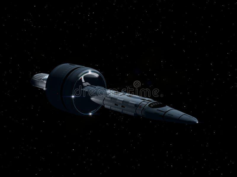 Volo interstellare 3D-Rendering dell'astronave illustrazione vettoriale