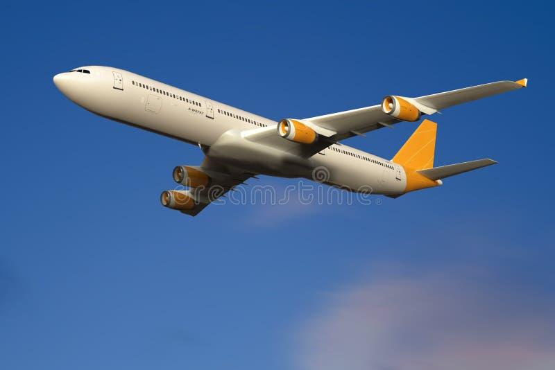 Volo nel cielo, cielo blu dell'aeroplano del getto fotografia stock