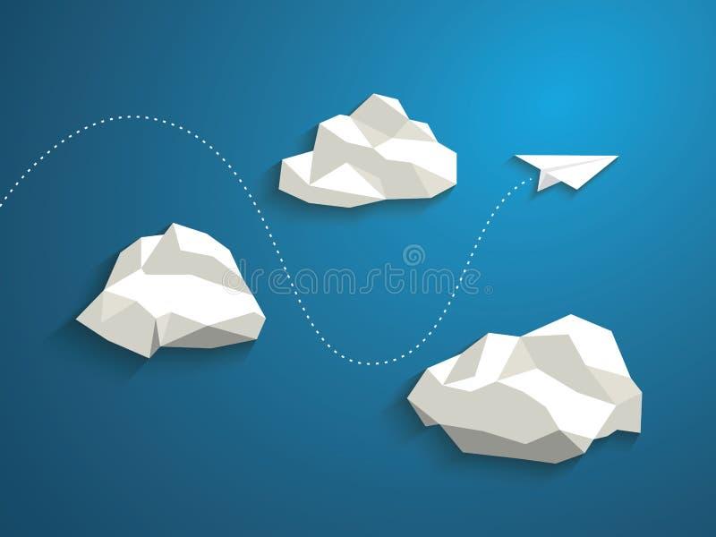 Volo piano di carta fra le nuvole moderno illustrazione vettoriale
