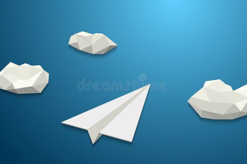 Volo piano di carta nel cielo nuvoloso illustrazione di stock