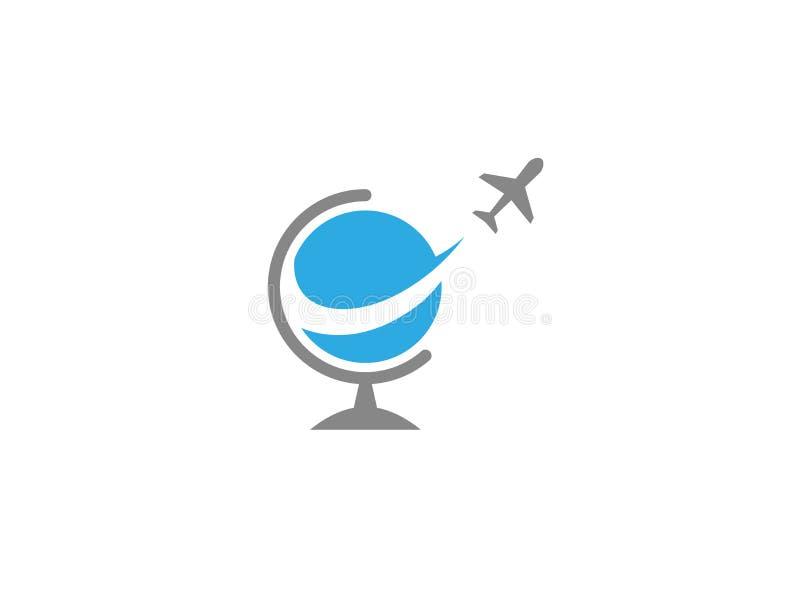 Volo piano intorno al globo per il logo illustrazione di stock