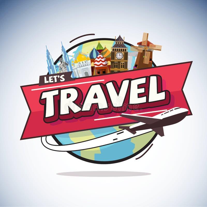 Volo piano intorno al mondo con il punto di riferimento della città concetto di corsa royalty illustrazione gratis