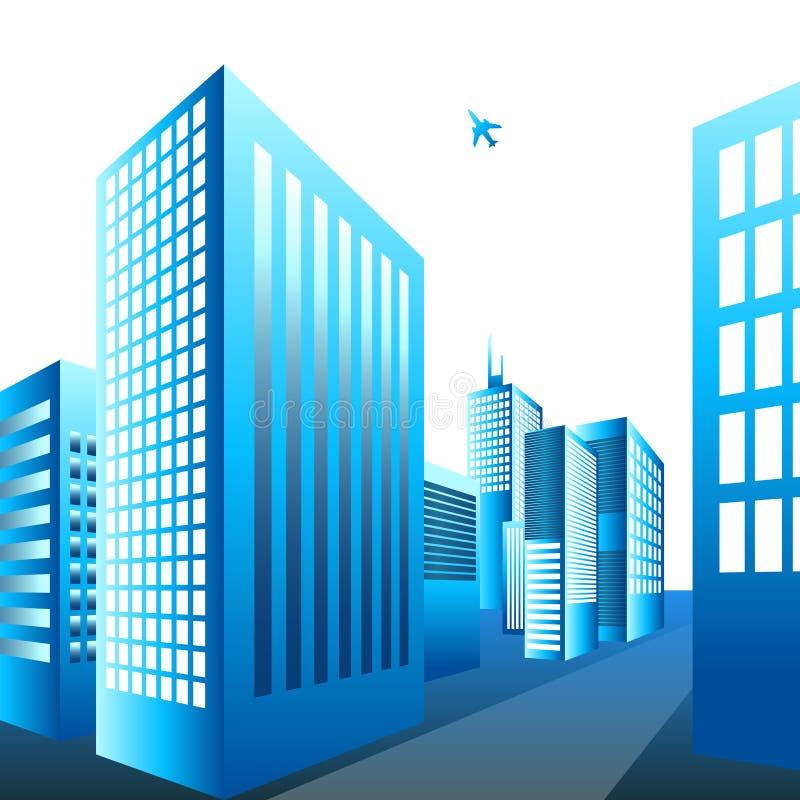 Volo piano sopra una città illustrazione di stock