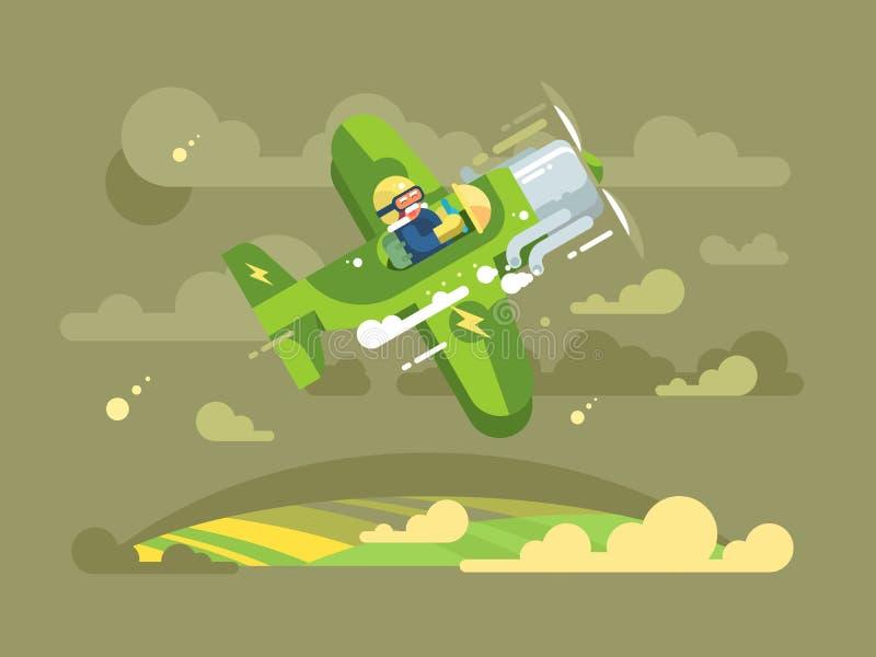 Volo pilota sull'aeroplano in cielo illustrazione vettoriale
