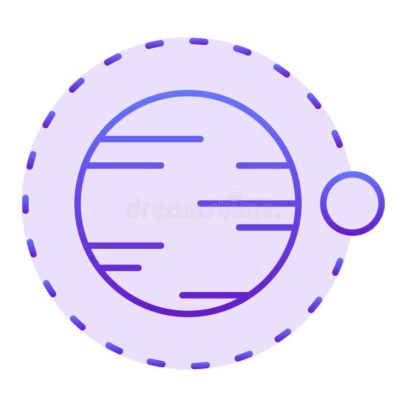 Volo satellite sopra l'icona piana del pianeta Icone viola dell'universo nello stile piano d'avanguardia Progettazione di stile d illustrazione di stock