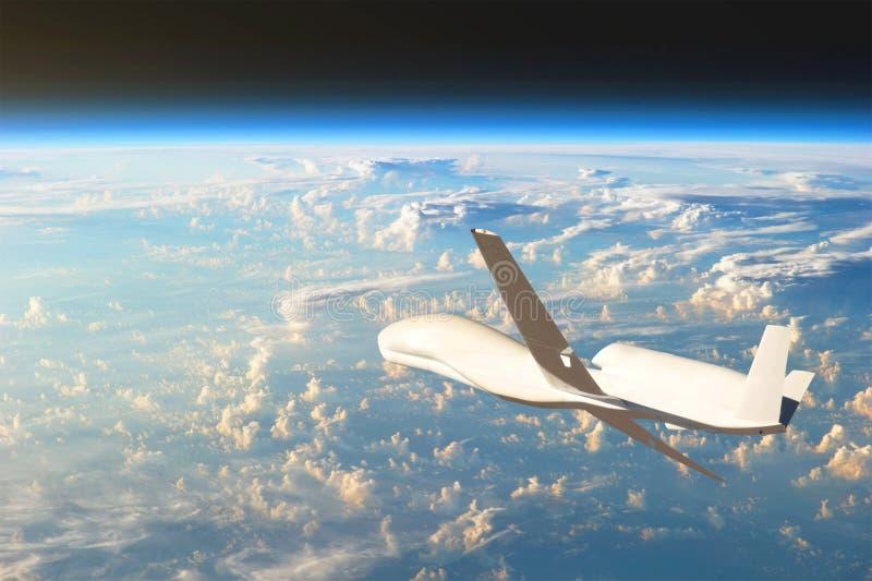 Volo senza equipaggio degli aerei nell'atmosfera superiore, lo studio sulle coperture di gas del pianeta Terra Elementi di questa fotografia stock libera da diritti