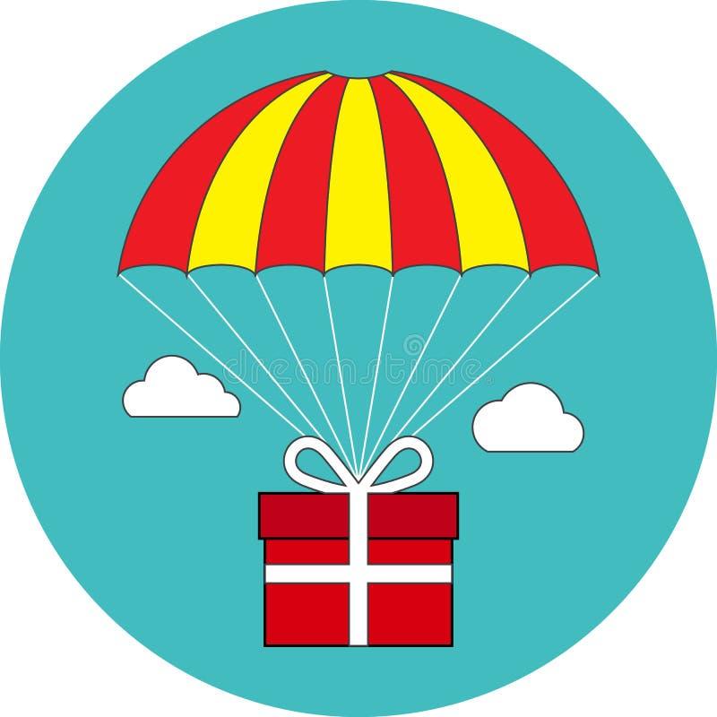 Volo sul paracadute, servizio di distribuzione, concetto del contenitore di regalo di indennità f illustrazione vettoriale