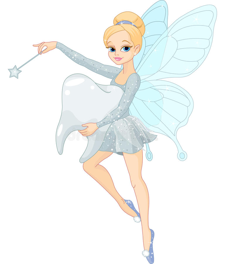 Volo sveglio del Fairy di dente con il dente royalty illustrazione gratis