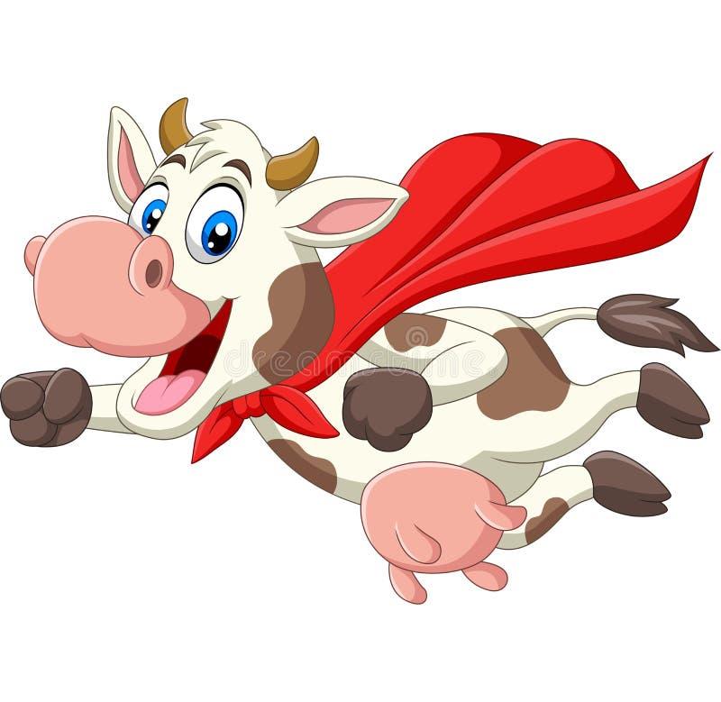 Volo sveglio della mucca del supereroe del fumetto royalty illustrazione gratis