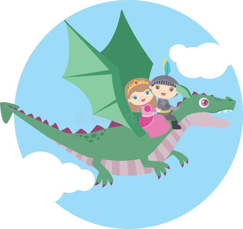Volo sveglio della ragazza e di Little Boy su Dragon Circle Design Isolated su bianco royalty illustrazione gratis