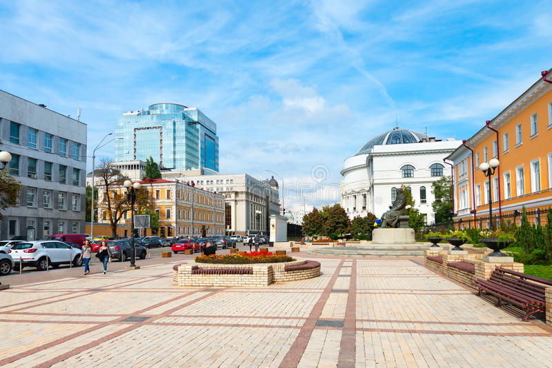 Volodymyr Street is one of the central street in historical part. KIEV, UKRAINE - 16 SEP, 2013: Volodymyr Street is one of the central street in historical part stock photos