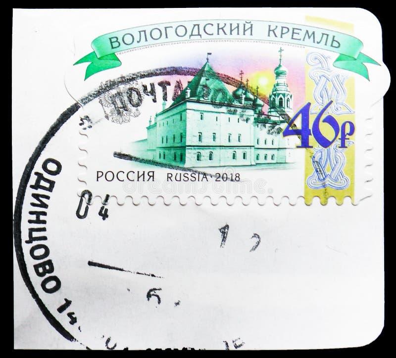Vologda Kreml, Kreml av Ryssland Definitives serie, circa 2018 arkivbilder