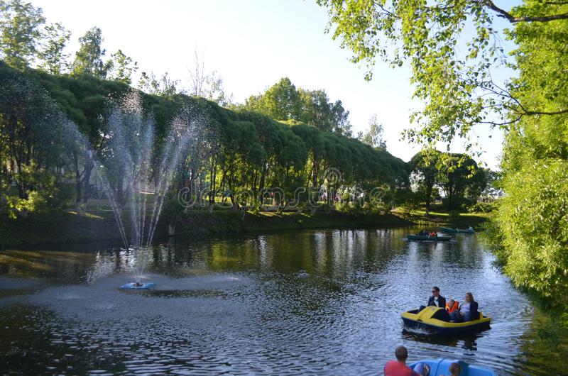 Vologda summer, park greens beauty, people rest royalty free stock image