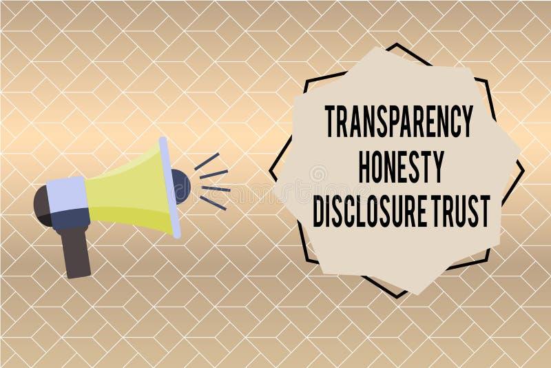 Volontà corporativa dell'agenda politica di significato di concetto di fiducia di rivelazione di onestà della trasparenza di scri royalty illustrazione gratis