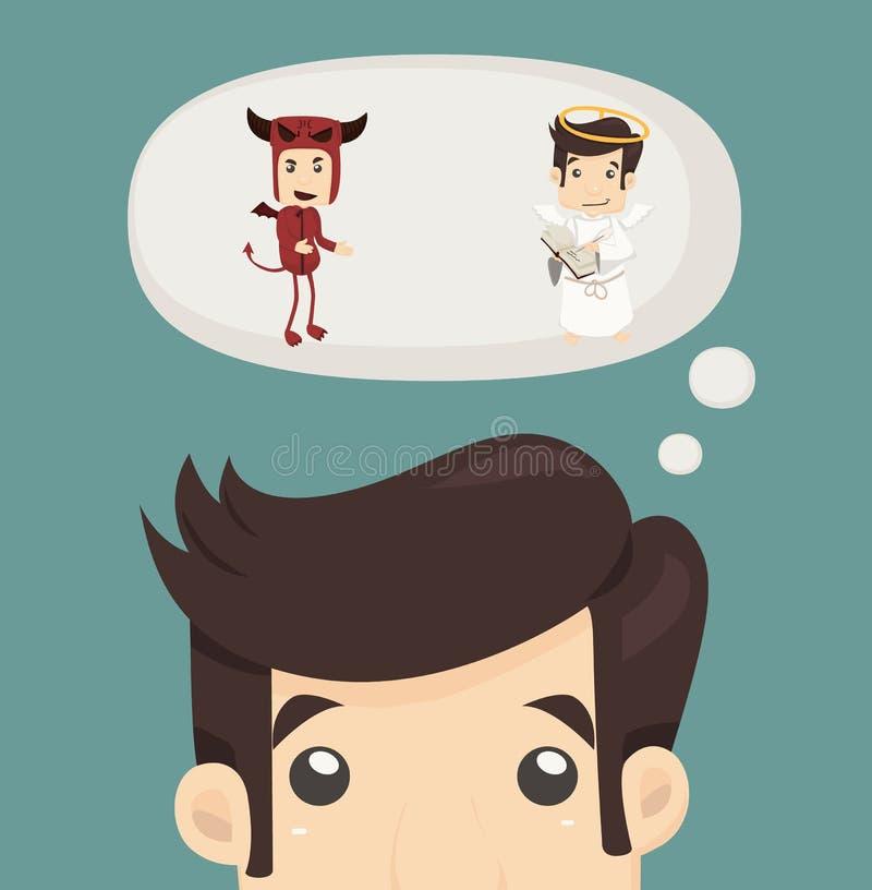 Volontà dell'uomo d'affari con il diavolo e un angelo royalty illustrazione gratis