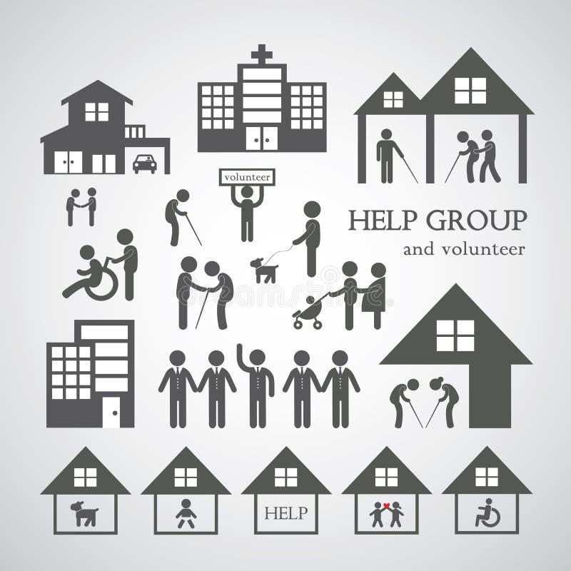 Volontär för non vinstsocialtjänstsymbol stock illustrationer