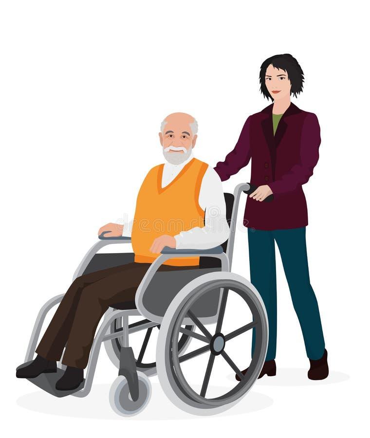 Volontär för ung kvinna som att bry sig den gamla rörelsehindrade mannen i rullstol royaltyfri illustrationer