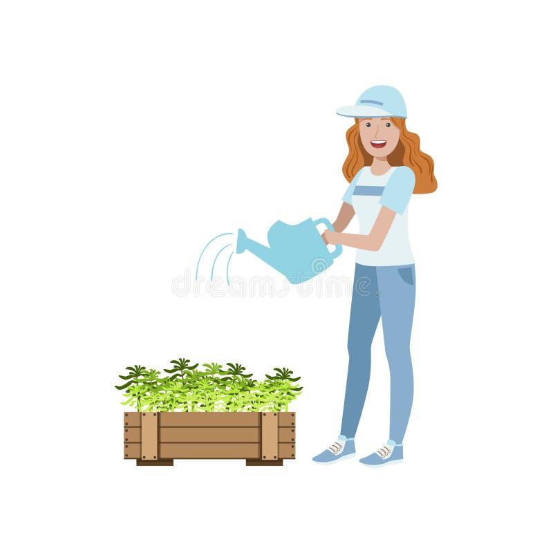 Volontär som bevattnar växterna stock illustrationer