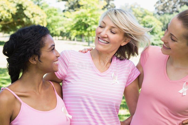 Volontärer som stöttar bröstcancermedvetenhet royaltyfri foto