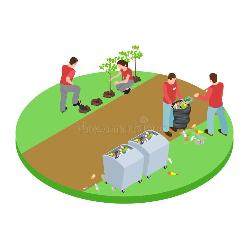 Volontärer tar avfallet i parkerar och planterar ut isometriskt vektorbegrepp för träd vektor illustrationer