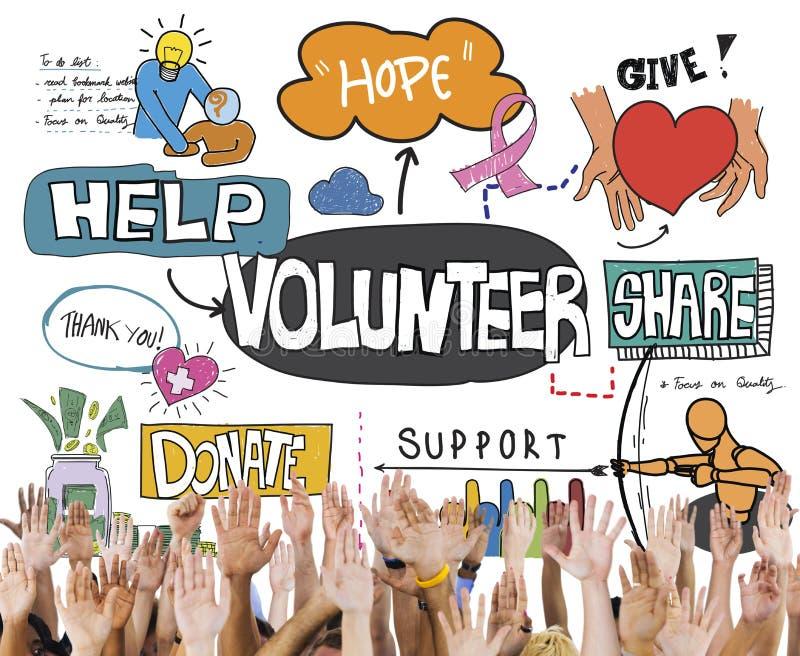 Volontärfrivilligt bidrag som ställa upp som frivillig hjälpvälgörenhetbegrepp royaltyfri fotografi