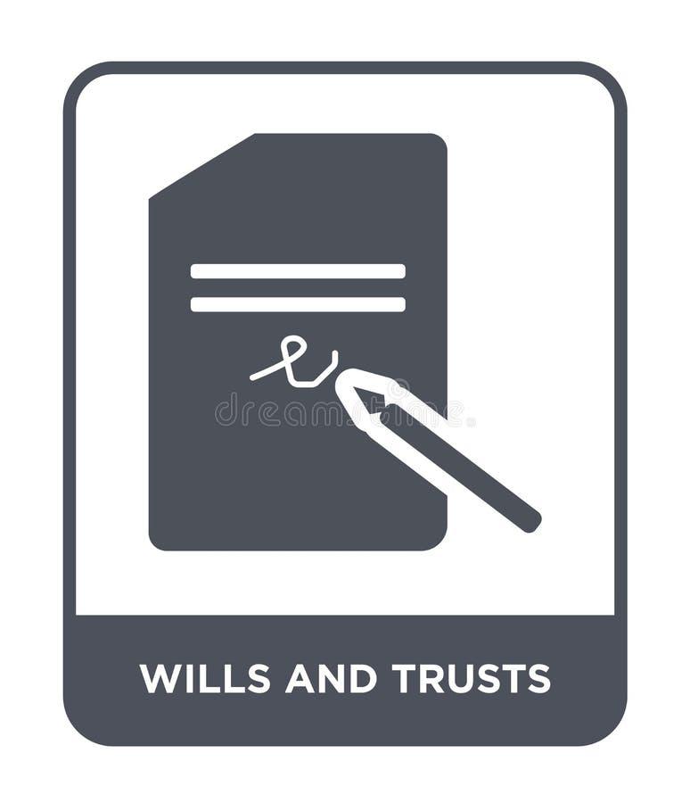 volontés et icône de confiances dans le style à la mode de conception volontés et icône de confiances d'isolement sur le fond bla illustration de vecteur