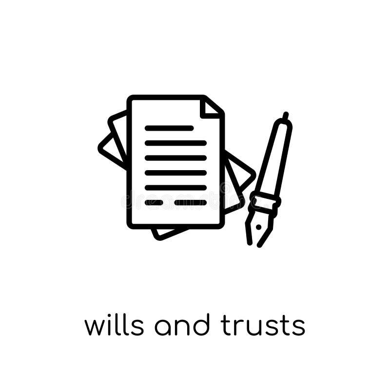 volontés et icône de confiances Le vecteur linéaire plat moderne à la mode veut illustration stock