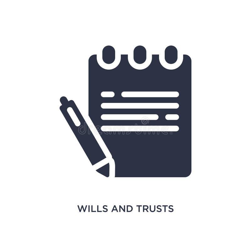 volontés et icône de confiances sur le fond blanc Illustration simple d'élément de concept de loi et de justice illustration libre de droits