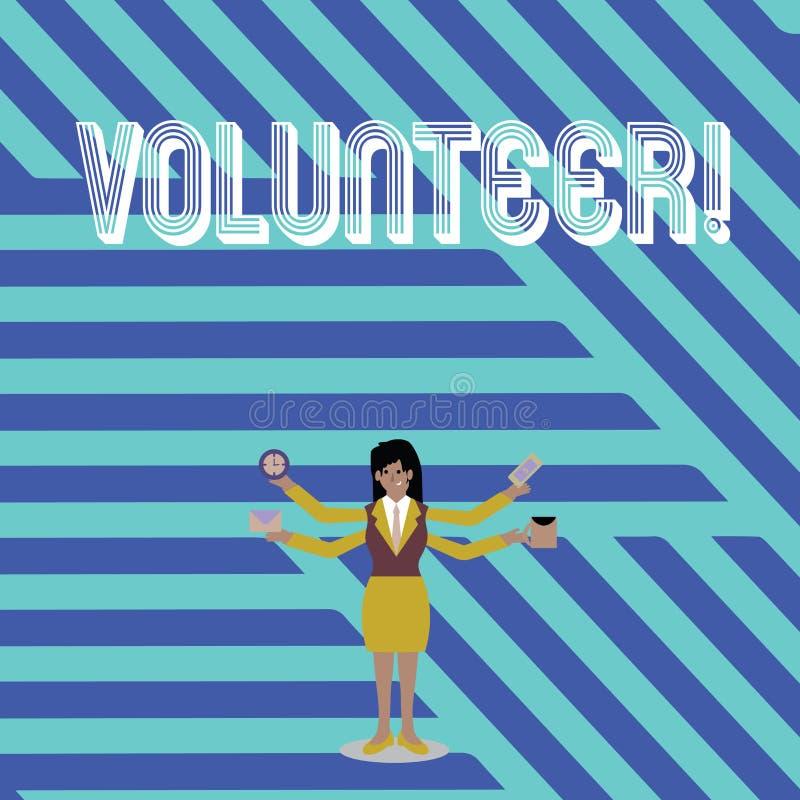 Volontaire d'apparence de signe des textes Photo conceptuelle offrant la personne pour une plus grande cause sociale servant d'au illustration libre de droits