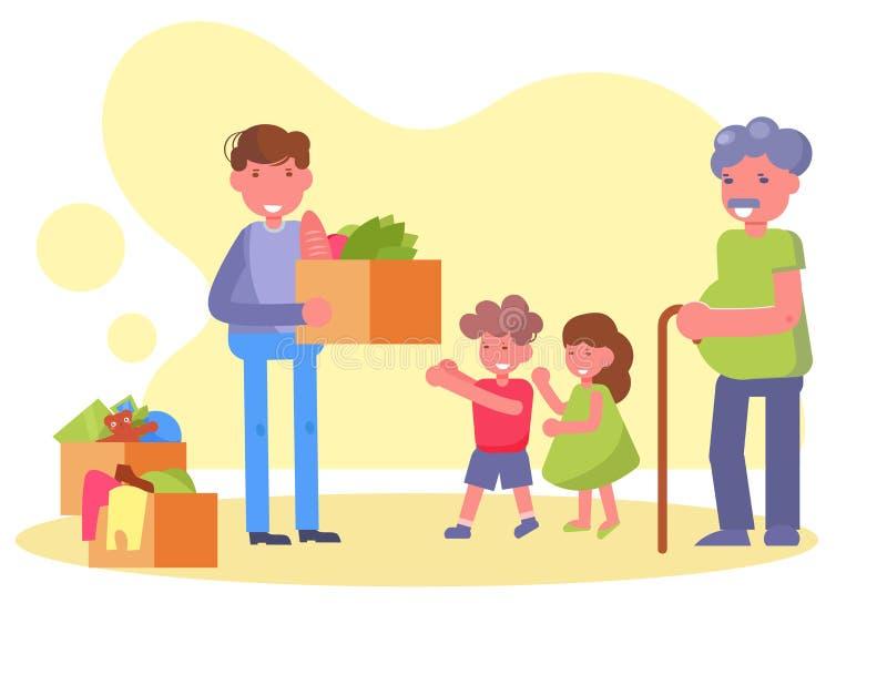 Volontaire de charité, donations, jouets, vêtements, vecteur de nourriture cartoon Art d'isolement illustration de vecteur