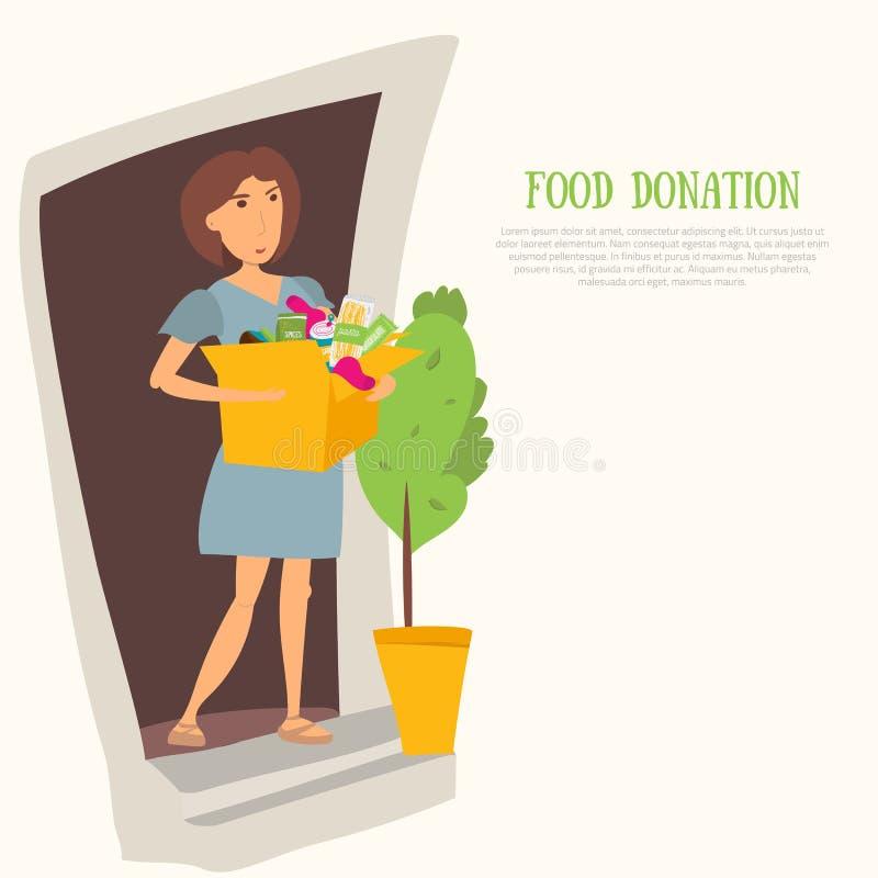 Volontaire de femme avec la donation et les vêtements de nourriture La plupart des articles nécessaires pour des banques dirigent illustration de vecteur