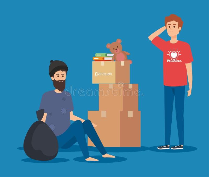 Volontaire de garçon avec la donation de boîtes et indigent illustration libre de droits
