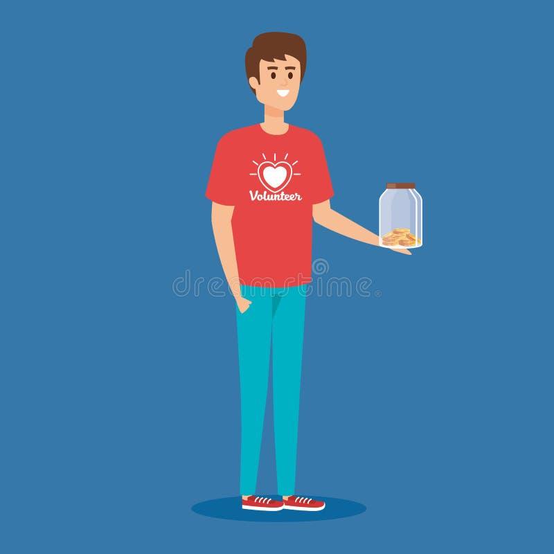 Volontaire de garçon avec la donation de tirelire et de pièces de monnaie illustration stock