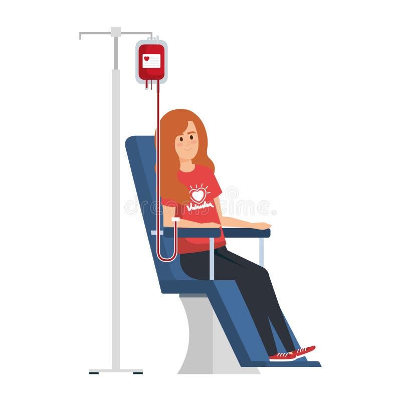 Volontaire de jeune femme dans la chaise de donation illustration stock