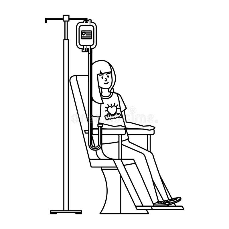 Volontaire de jeune femme dans la chaise de donation illustration de vecteur